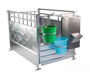 gabbia per vitelli modello ECO con secchi